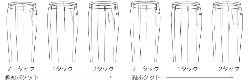 パンツデザイン ポケット タック